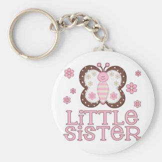 Pequeña hermana de la mariposa rosada llavero redondo tipo pin
