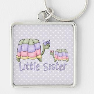 Pequeña hermana de las tortugas en colores pastel llavero cuadrado plateado