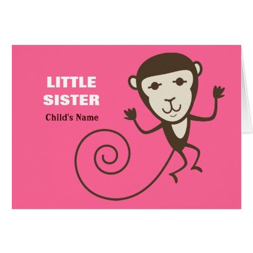 Pequeña hermana del mono caprichoso tarjeta de felicitación