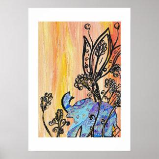 Pequeña impresión azul del elefante póster