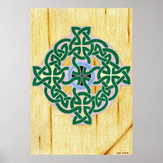 Pequeña impresión (combinada) de la cruz céltica póster