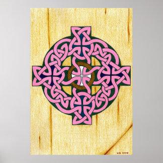 Pequeña impresión de la cruz céltica póster