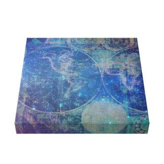 Pequeña impresión de la lona del mapa del mundo impresión en lona estirada