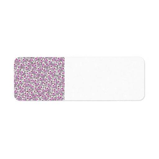 Pequeña impresión rosada de neón blanca linda de etiqueta de remitente