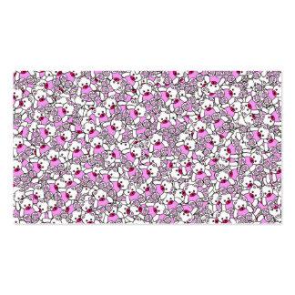 Pequeña impresión rosada de neón blanca linda de tarjetas de visita