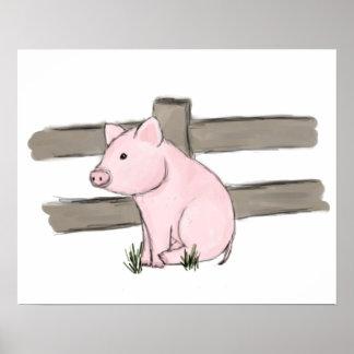 Pequeña impresión rosada linda del poster del cerd