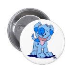 Pequeña insignia azul del botón del perrito