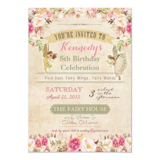 Pequeña invitación de hadas 5 x 7 del cumpleaños