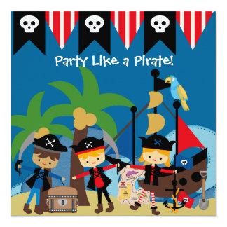 Pequeña invitación del cumpleaños del pirata de