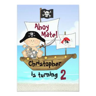 Pequeña invitación del pirata del cumpleaños de