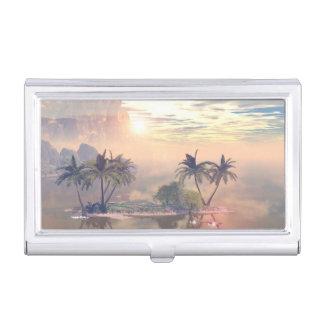 Pequeña isla hermosa en la puesta del sol cajas de tarjetas de visita