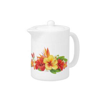 Pequeña jarra del hibisco tropical