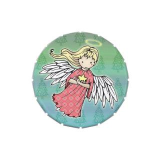 Pequeña lata del caramelo del ángel del navidad frascos de dulces
