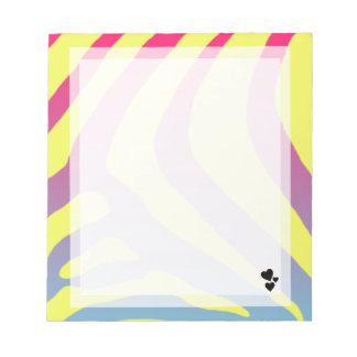 Pequeña libreta amarilla, azul, rosada del corazón blocs de papel