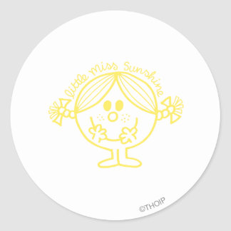 Pequeña línea amarillo de Srta. Sunshine del arte Pegatinas Redondas