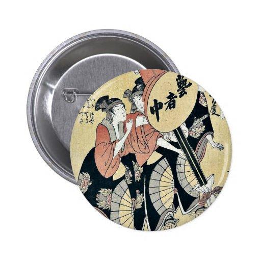 Pequeña linterna del festival por Kitagawa, Utamar Pin Redondo 5 Cm