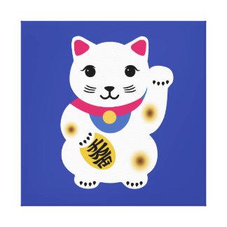 Pequeña lona de arte afortunada del gato lona envuelta para galerias