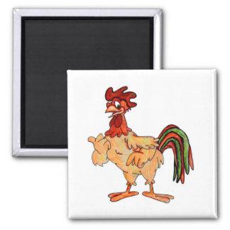 Pequeña mano roja del gallo coloreada imán cuadrado