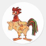 Pequeña mano roja del gallo coloreada pegatinas redondas