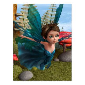 Pequeña mariposa de hadas que vuela tarjeta postal