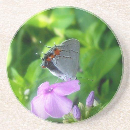 Pequeña mariposa gris 2 posavasos manualidades