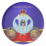 Pequeña muchacho azul rojo 2 del oro del príncipe plato