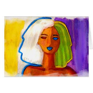 pequeña mujer abstracta en colores tarjeta de felicitación