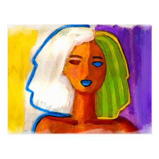 pequeña mujer abstracta en colores tarjetas postales