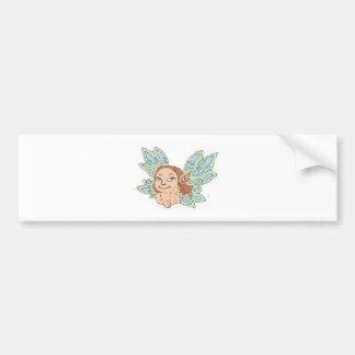 pequeña ninfa de hadas linda etiqueta de parachoque