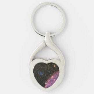 Pequeña nube de Magellanic de los fuegos Llavero Plateado En Forma De Corazón
