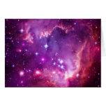 Pequeña nube de Magellanic teñida púrpura Tarjeta De Felicitación