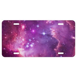 Pequeña nube de Magellanic teñida púrpura vibrante Placa De Matrícula