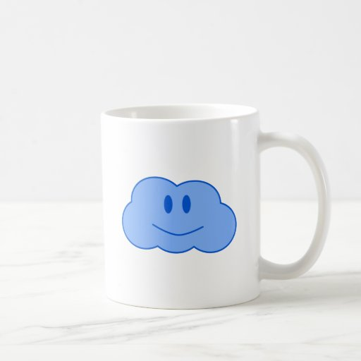 Pequeña nube feliz taza básica blanca