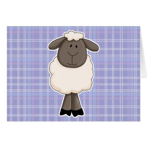 Pequeña oveja linda de las ovejas tarjeta de felicitación
