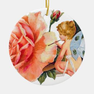 Pequeña pintura de hadas subió - personalizado adorno navideño redondo de cerámica