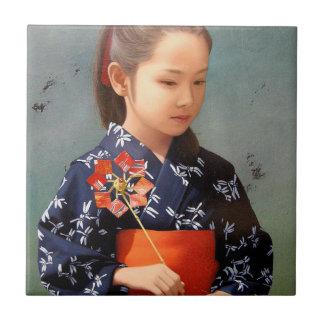 Pequeña pintura japonesa linda del retrato del kim azulejo ceramica