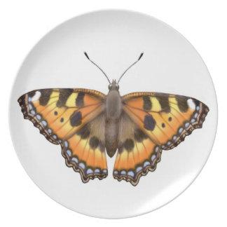 Pequeña placa de mariposa de Vanesa de la concha Platos De Comidas