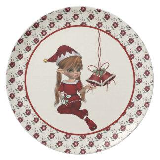 Pequeña placa del navidad del duende del ayudante plato de comida