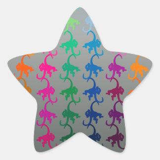Pequeña plata del mono pegatina en forma de estrella
