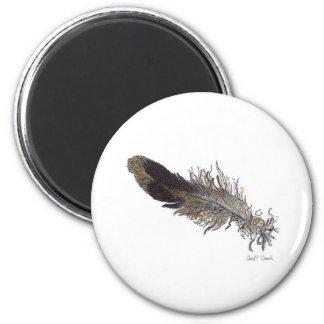 Pequeña pluma de pájaro imán redondo 5 cm