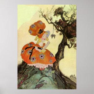 Pequeña poesía infantil de la araña de Srta. Muffe Poster