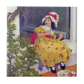 Pequeña poesía infantil de Srta. Muffet Azulejo Cuadrado Pequeño