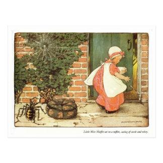 Pequeña poesía infantil de Srta. Muffet Tarjeta Postal