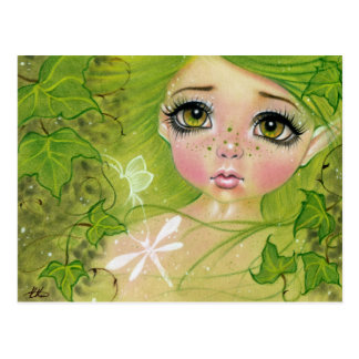Pequeña postal de hadas verde