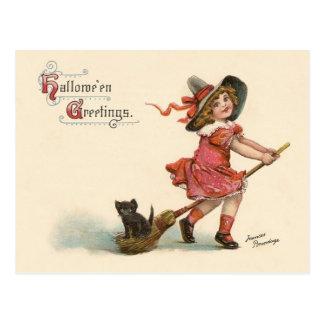 Pequeña postal de los saludos de Halloween de la b