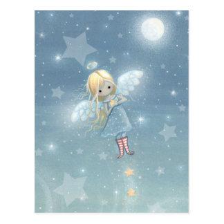 Pequeña postal del ángel de la estrella del navida