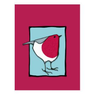 Pequeña postal del azul del petirrojo