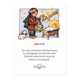 Pequeña postal del muchacho del batería del navida