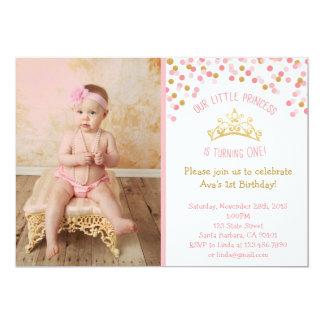 """Pequeña princesa Birthday Invitation- Pink y oro Invitación 5"""" X 7"""""""
