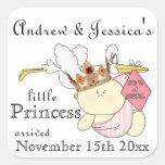 Pequeña Princesa-Cigüeña/nombres/fechas del Bebé-P Pegatina Cuadradas Personalizadas